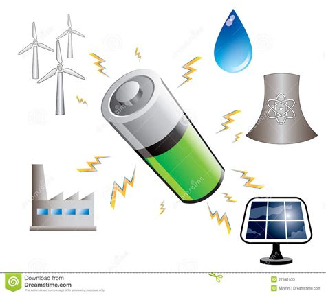 Battery And Energy Sources, Illustration Stock ...