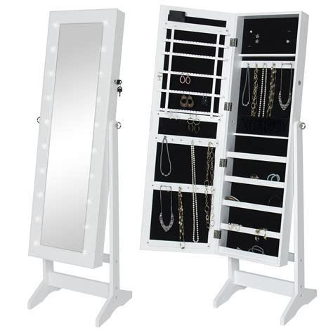 BCP Mirrored Jewelry Armoire Cabinet w/ LED Lights ...