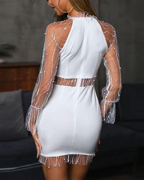 Beaded Sheer Mesh Insert Bodycon Dress   Ropa de moda ...