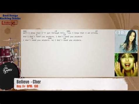 Believe   Cher Drums Backing Track with chords and lyrics
