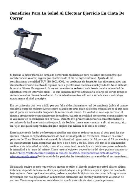 Beneficios Para La Salud Al Efectuar Ejercicio En Cinta De ...