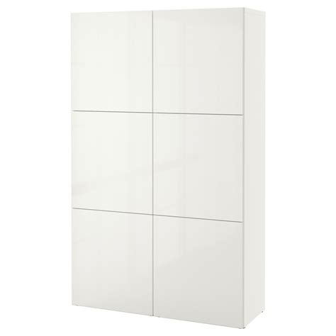 BESTÅ Mueble salón, blanco, Selsviken alto brillo/blanco ...