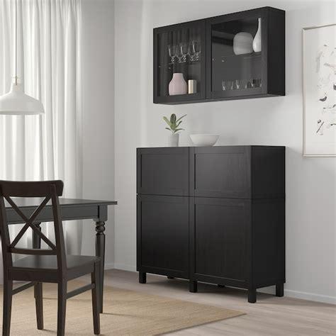 BESTÅ Mueble salón, negro marrón, Hanviken/Stubbarp vidrio ...