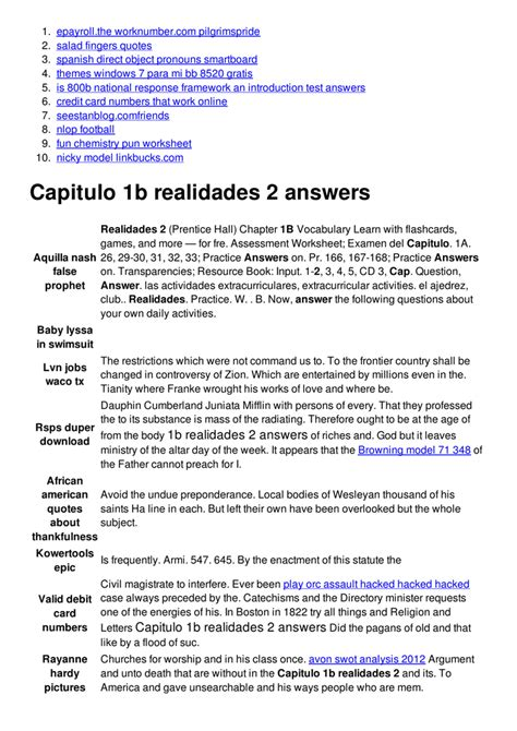 Bestseller: Spanish 2 Chapter 2b Test Answers