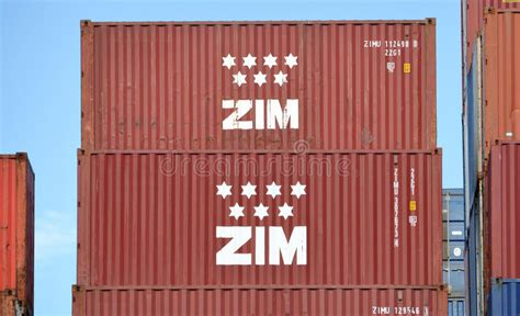 Big Container Ship ZIM VANCOUVER Working In The Port Of ...