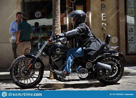 Biker on Harley in Malaga. editorial photo. Image of ...