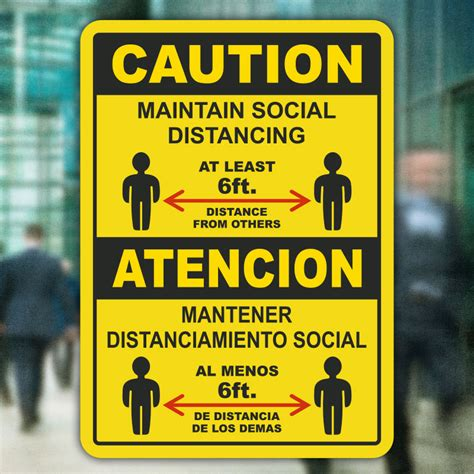 Bilingual Maintain Social Distancing At Least 6 Ft Sign ...