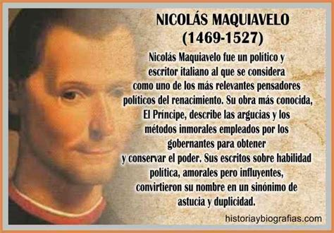 Biografia de Nicolas Maquiavelo Perfil del Principe Ideas ...