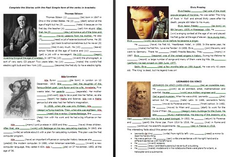 Biographies of Famous People  Past Simple