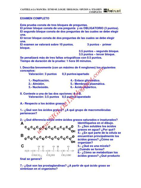 Biologia Selectividad Examen 3 Resuelto Castilla La Mancha ...