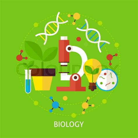 Biology Science Concept. Flat Poster ... | Stock vector ...