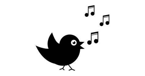 Bird singing with musical notes   Free music icons