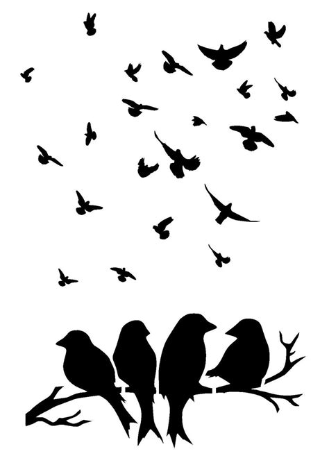 Birds on branches stencil . birds 1. Size A5 by ...