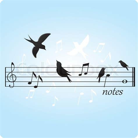 Birds on music notes   Stock Vector   Colourbox