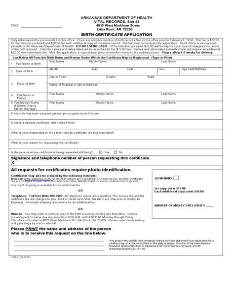 Birth Certificate Application   Arkansas   Edit, Fill ...
