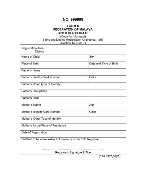 Birth Certificate Template Translation | printable ...