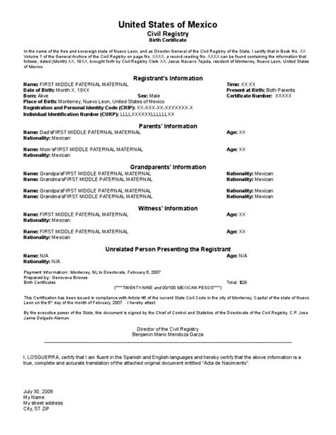 Birth Certificate Template Translation – printable ...