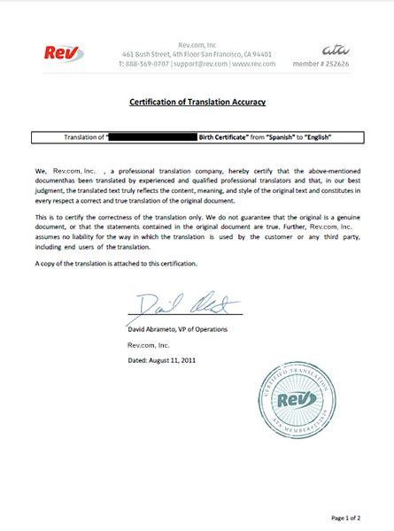 Birth Certificate Translation Service   Rev