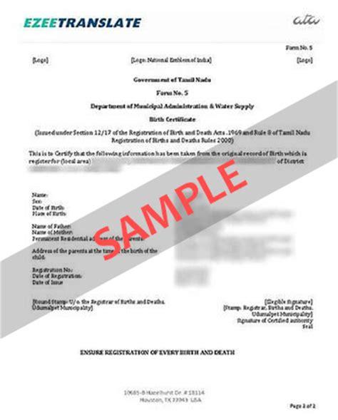 Birth Certificate Translation Services
