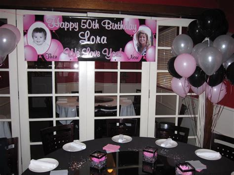 Birthday party decor, theme: pink, silver, black  50th ...