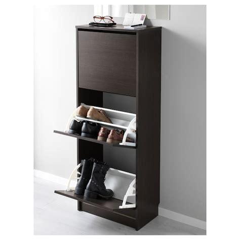 BISSA Zapatero 3, negro, marrón, 49x135 cm   IKEA