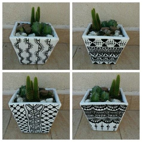 black and white painted terracotta pots | Awesome Painting ...