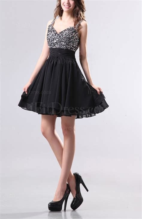 Black Cute Thick Straps Backless Chiffon Mini Pleated ...