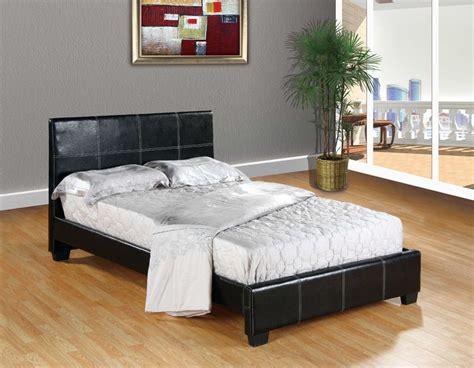 BLACK Faux Leather FULL Size Platform Bed Frame & Slats ...