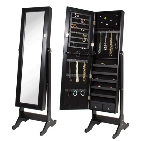 Black Mirrored Jewelry Armoire with Stand Mirror | Jet.com