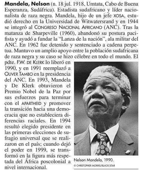 Blog del Profesor Nelson Vargas: BIOGRAFÍA: Nelson Mandela