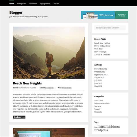 Blogger Free WordPress Theme   WPExplorer