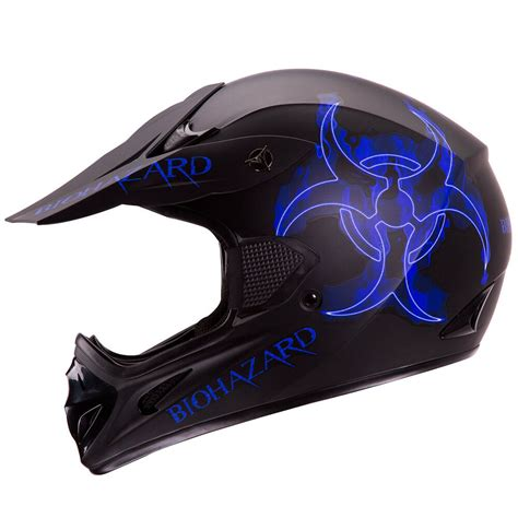 BLUE BIOHAZARD MATTE BLACK MOTOCROSS ATV DIRT BIKE HELMET ...