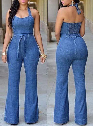 Blue Jean Jumpsuit   Halter Style / Elastic Back / Belted ...
