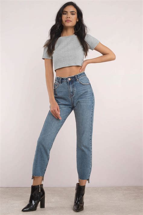 Blue Jeans   High Rise Jeans   Cropped Blue Jeans   High ...