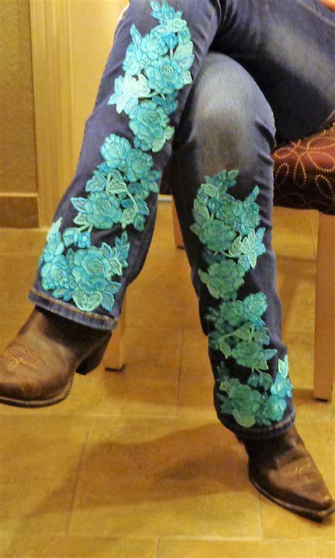Blue Roses Jean Tattoo   OregonPatchWorks
