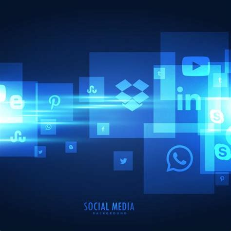 blue social media icons background   Download Free Vector ...