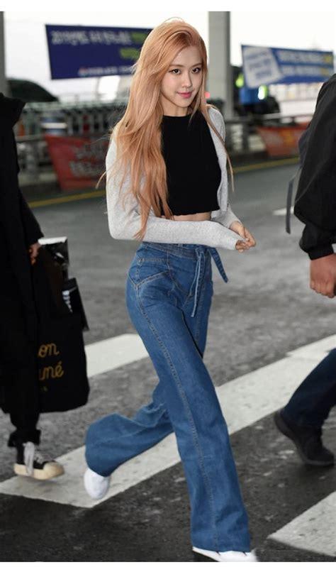 Blue Wide Jeans   Rose   BlackPink   K Fashion at ...