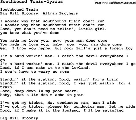 Blues Guitar lesson for Southbound Train lyrics, with ...