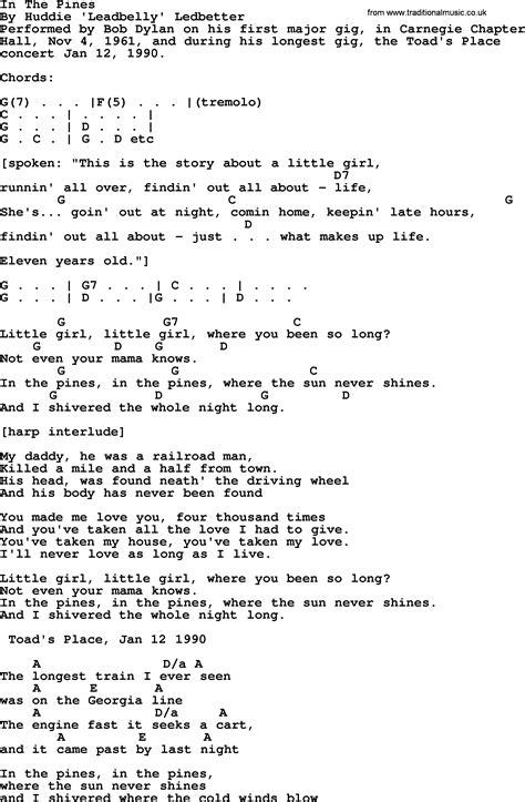 Bob Dylan song   In The Pines, lyrics and chords