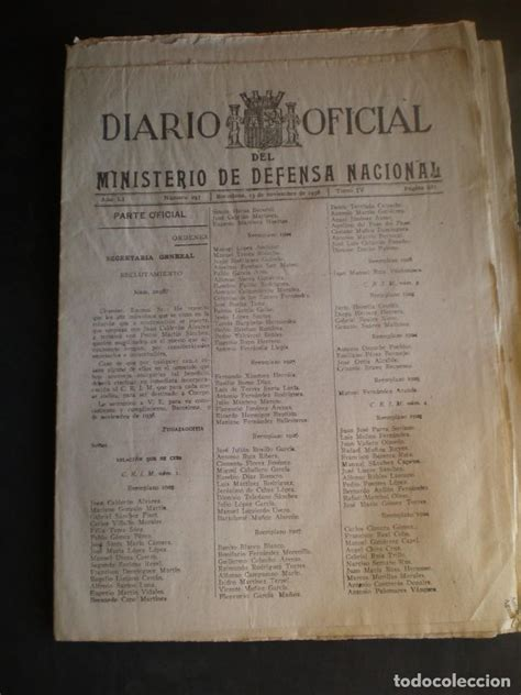 Boletin, diario oficial, ministerio de defensa   Vendido ...