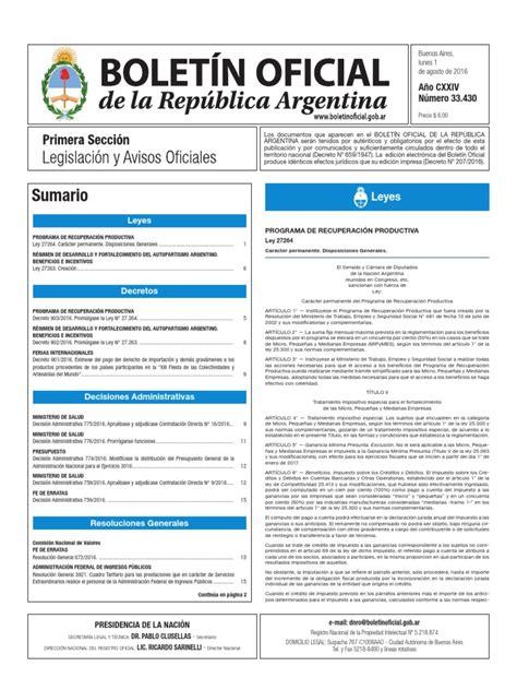 Boletín Oficial de la República Argentina, Número 33.430 ...