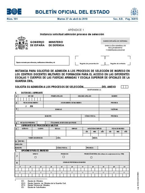 Boletín Oficial Del Estado: Instancia solicitud admisión ...