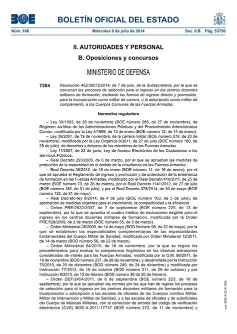 BOLETÍN OFICIAL DEL ESTADO MINISTERIO DE DEFENSA II ...