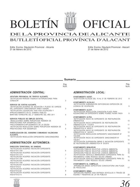 Boletin Oficial Provincia de Alicante 21 02 12