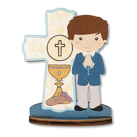 Bombonera recuerdo Comunión Cruz Eucaristía Niño 10x7 cm ...