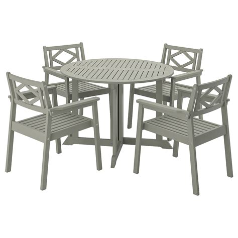 BONDHOLMEN Table and 4 armchairs, outdoor   gray stained ...