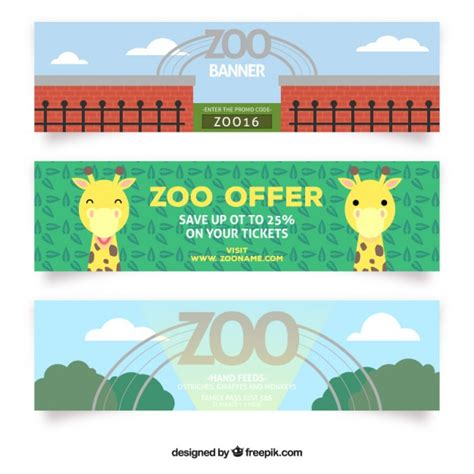Bonitos banners de oferta de zoo | Vector Gratis