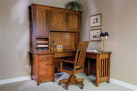Boston Corner Desk and Hutch   Custom Amish Furniture
