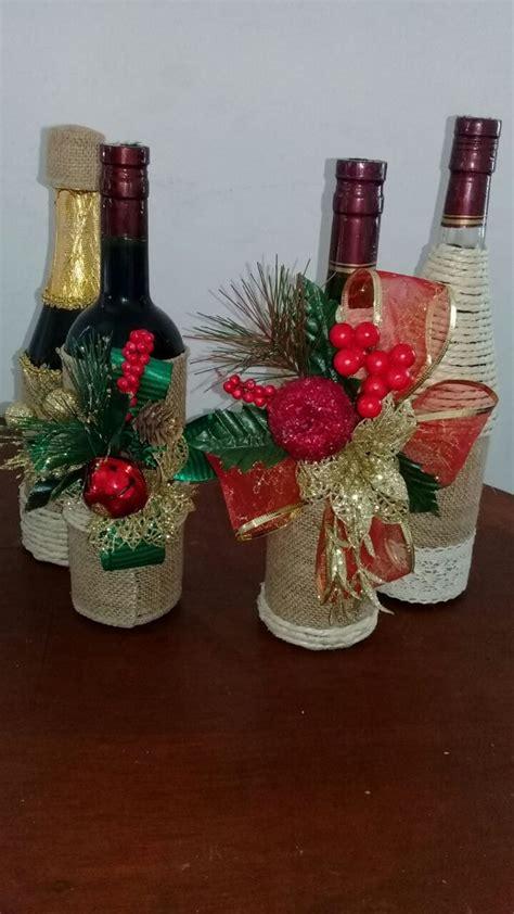 Botella Vino Champaña Decoradas Navideñas   $ 32.000 en ...