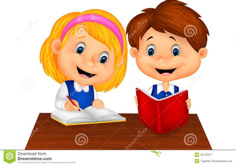 Boy And Girl Study Together Stock Vector   Illustration of ...